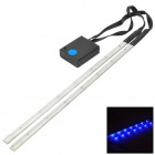 OI916 Bicycle Decorative 14-LED Blue Light 3-Mode Lamp Strips -- White Plus Black (2 x AAA / Pair) (Bike Lights Category)