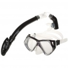 Diving Snorkelling Scuba Snorkel with Goggles Mask Set Black (Swimming Accessories Category)