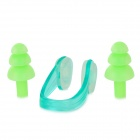 HN605 Swimming Silicone Ear Plugs Plus Plastic Nose Clip Set -- Green (Swimming Accessories Category)