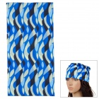 LV178 Geometric Patterns Outdoor Breathable Seamless Head Scarf -- Blue Plus Black Plus Beige (Hats Category)