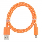 AB919 Nylon Housing USB Male to Lightning Data Sync and Charging Flat Cable for iPhone 5 -- Orange Plus White (Cables & Adapters Category)