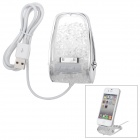 HT813 Crystal Decorated Plastic 30pin Charging Dock for iPhone 4 / 4S -- Transparent Plus Silvery White (Docking Stations & Cradles Category)