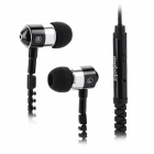 Mo-baks CQ704 Zippered In-Ear Earphones -- Black Plus Silver (3.5 millimetres Plug) (Earphones Category)