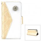 SA682 Rhinestone Protective PU Leather Flip-Open Wallet Case with Card Slot for iPhone 5 -- Light Yellow (Mobile Phone Leather Cases Category)