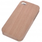 Protective Wood PU Back Case for iPhone 4 (Mobile Phone Leather Cases Category)