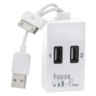 USB 2.0 4 Port Hub with Data / Charging Cable for iPhone / iPad White (USB Hubs & Switches Category)