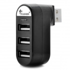 High Speed 3 Port USB 2.0 Rotatable Hub Black (USB Hubs & Switches Category)