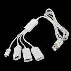USB Male to 3 Port USB 2.0 Female Plus 1 Micro USB Male Charging Hub White (USB Hubs & Switches Category)