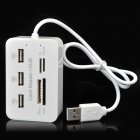 USB 2.0 3 Port HUB Plus MS / MS PRO DUO / SD / MMC / M2 / Micro SD Card Reader Combo White (USB Hubs & Switches Category)