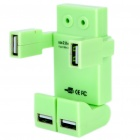 Vivid Robot USB 2.0 4 Port Hub with USB Cable Green (USB Hubs & Switches Category)