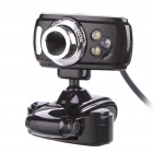 Clip On USB 3.0 1.8MP CMOS PC Camera Webcam with Microphone / White 3 LED Illumination Light Black (Computer Webcams Category)