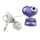 Heart USB 2.0 2.0MP PC Camera Webcam with Microphone / 3 LED Night Vision Light Deep Purple (Computer Webcams Category)