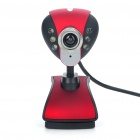 300KP CMOS PC USB Webcam with 6 LED White Light / Microphone Black Plus Red (Computer Webcams Category)