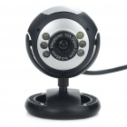 300KP CMOS PC USB Webcam with 6 LED White Light / Microphone Black (Computer Webcams Category)