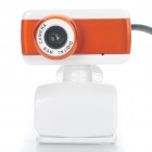 USB 300 KP Driverless Clip On Webcam with Built In Microphone for PC / Laptop Orange (Computer Webcams Category)