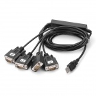 Z TEK ZE552 USB 2.0 to 4 x RS232 Serial Adapter Cable Black (Cables & Adapters Category)