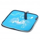 Portable Neoprene Square Mouse Pouch Pad Blue Plus Black (USB Mouse Pads Category)
