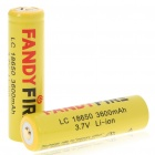 18650 Rechargeable 3600mAh Lithium Ion Batteries Yellow (Pair) (Batteries Category)