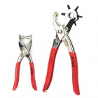 BY-XAS-GD AF237 6 in 1 Handheld Stainless Steel Leather Hole Punch Pliers -- Red Plus Silver (Professional Tools Category)