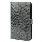 Fish Skin Pattern Protective PU Leather Flip Cover Plastic Case for Samsung Galaxy Note i9220 Grey (Mobile Phone Leather Cases Category)