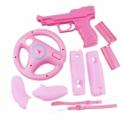 e--J-GD GU191 Wii Vibration Holster Plus Steering Wheel Plus Silicon Handle Case Plus Handle Battery Cover -- Pink (Wii Accessories Category)