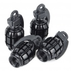 Universal Grenade Shaped Car Tire Valve Caps Black (4 Piece Pack) (Car Decorations Category)