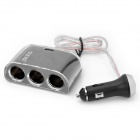 3 in 1 Car Cigarette Powered Adapter Extended Socket with USB Black (Car Cigarette Lighter Gadgets Category)