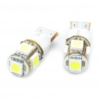 T10 1.5W 6500K 60 Lumen 2 Mode 5 5050 SMD LED White Light Bulbs (DC 12V / Pair) (Car LED Light Bulbs Category)