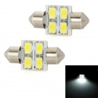 ZF652 Festoon 31 millimetres 2W 270lm 4-SMD 5630 LED White Light Car Reading / License Plate Lamp (2 Pieces / 12V) (Car LED Light Bulbs Category)