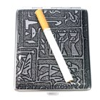 Mysterious Egyptian Glyphs Metal Cigarette Case (Holds 18) (Smoking Pipes and Cases Category)