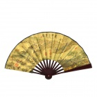 QP217 10.7'' Chinese Folding Fan / Art Fan Riverside Scene at Qing-ming Festival -- Brown Plus Yellow (Martial Arts Supplies Category)