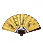 EB664 Plum Blossoms Orchid Bamboo Chrysanthemum Pattern 10.7'' Chinese Folding Art Fan -- Brown Plus Yellow (Martial Arts Supplies Category)