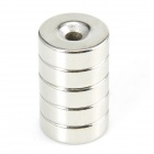 XO370 Round Hole NdFeB Magnets -- Silver (5 Pieces) (Rare Earth Magnets Category)