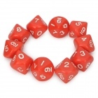 10 Sided Game Dice Red (10 Piece Pack) (Toys Category)