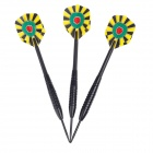 0WU492 Dartboard Pattern Sharp Tungsten-plated Iron Plastic Darts -- Black Plus Yellow Plus Red Plus Green (3Pieces) (Toys Category)
