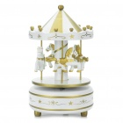 Carousel Merry Go Round Rotating Music Box with Castle in the Sky Melody Gold Plus White (Gifts Category)