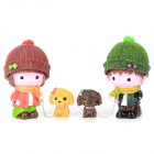 TH252 Couple Walk The Dog Resin Decoration Doll Toy -- Red Plus Green Plus Brown Plus Yellow (2 Pieces) (Gifts Category)
