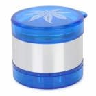 TB385 Marijuana Leaf Pattern Aluminium 5-Layer Herb Cigar Cigarette Grinder -- Sky-blue (Smoking Pipes and Cases Category)