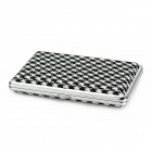 HT600 Stainless Steel Plus PU Leather Cigarette Case -- Black Plus White Plus Silver (Smoking Pipes and Cases Category)