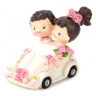 LH613 Wedding Couple in the Car Resin Display Model Toy -- White Plus Pink (Gifts Category)