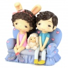 IJ954 Romantic Resin Lovers On the Sofa Doll Gift -- Light Purple Plus Pink Plus Black (Gifts Category)