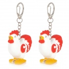 MB721 Rooster 1-LED White Light Key chains with Sound Effect -- Red Plus White (3 x AG10 / 2 Pieces) (LED Keychains Category)
