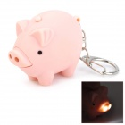 YL612 Pig 2-LED White Light Torch Keychain with Sound Effect -- Light Pink (3 x AG10) (LED Keychains Category)