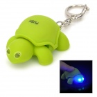 YR674 Tortoise Plastic 2-LED Blue Light Keychain with Sound Effect -- Green (3 x AG10) (LED Keychains Category)