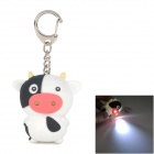 NV259 Cow Plastic 2-LED White Light Keychain with Sound Effect -- White Plus Black Plus Pink (3 x AG10) (LED Keychains Category)
