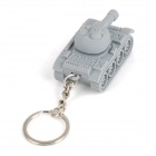 GL541 Tank LED White Light Keychain with Sound -- Grey (3 x AG10) (LED Keychains Category)