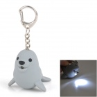 IX254 Seal LED White Light Keychain with Sound -- Grey (3 x AG10) (LED Keychains Category)