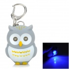 DB911 Cartoon Owl Shaped Blue LED Light Keychain -- Grey Plus White Plus Yellow (3 x AG13) (LED Keychains Category)
