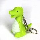 LQ158 Dinosaur LED Purple Light Keychain with Sound Effect -- Green Plus White (3 x AG10) (LED Keychains Category)