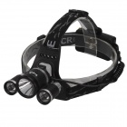 UA333 Sing Fire SF-555 3 x Cree XM-L T6 1800lm 4-Mode White Headlamp -- Black Plus Silver (2 x 18650 battery) (Headlamps Category)